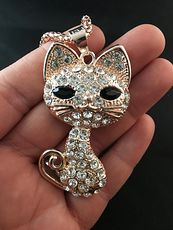 Large Rhinestone and Gold Tone Kitty Cat Pendant #WmoRSUvFMfY