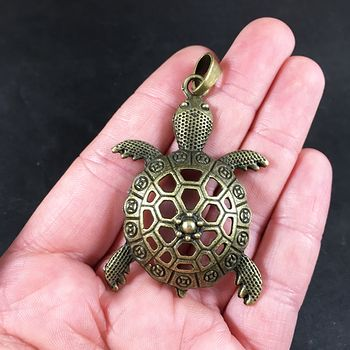 Large Vintage Bronze Toned Sea Turtle Pendant Necklace #iuSeGr2MA6g