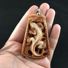 Lizard Carved Red Malachite Stone Pendant Jewelry #EktlyAhGq0M