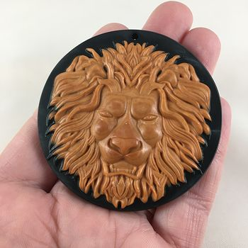 Male Lion Head Carved Red Malachite and Black Jasper Stone Pendant Jewelry #D5noN9cWDkQ