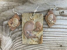 Mamma and Baby Bull Jasper Stone Earrings and Pendant Jewelry Set #9QIc9sLYHfs