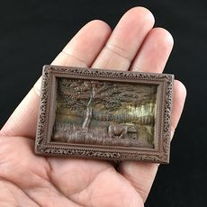 Mamma Bear and Cub on a Lake Shore Carved Ribbon Jasper Stone Pendant Jewelry #WbR8NdqiANg