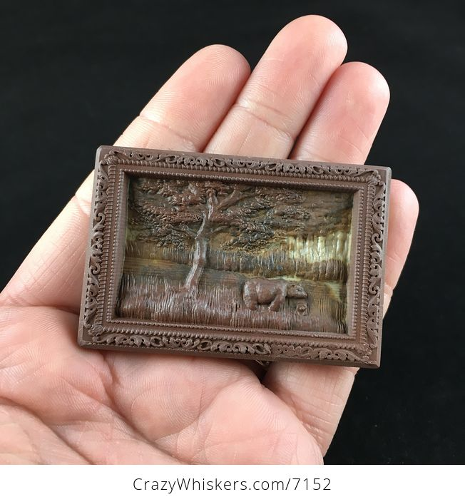 Mamma Bear and Cub on a Lake Shore Carved Ribbon Jasper Stone Pendant Jewelry - #WbR8NdqiANg-1