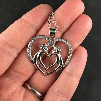 Monkey Couple Forming a Heart Silver and Rhinestone Jewelry Necklace Pendant #BQCeg4aESNQ
