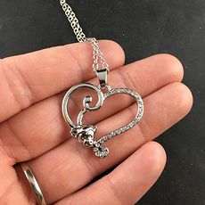 Monkey Forming Half of a Silver Heart with Rhinestones Jewelry Necklace Pendant #QxIA9LHXn54