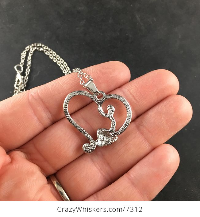 Monkey Forming Half of a Silver Heart with Rhinestones Jewelry Necklace Pendant - #QxIA9LHXn54-5