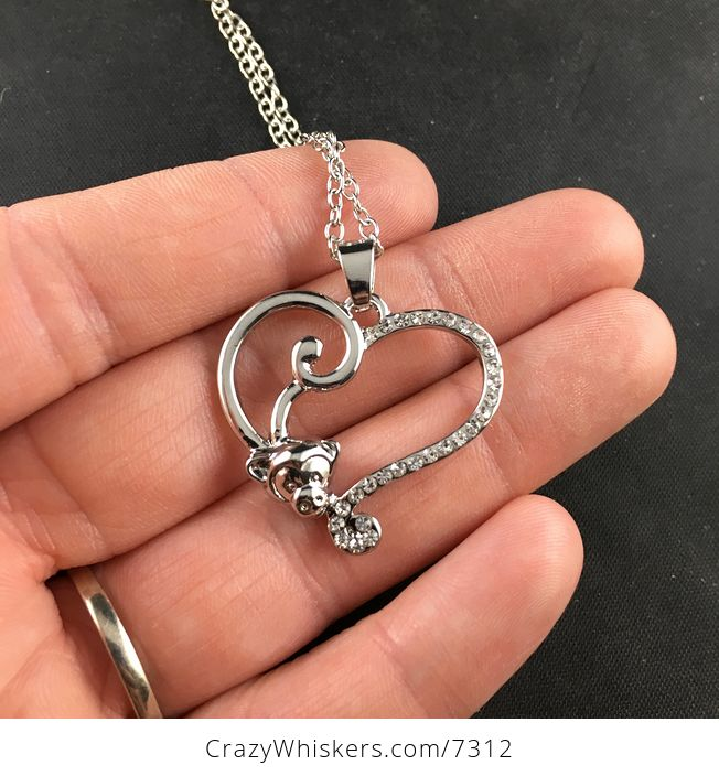 Monkey Forming Half of a Silver Heart with Rhinestones Jewelry Necklace Pendant - #QxIA9LHXn54-1
