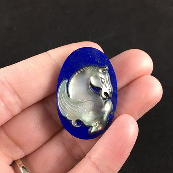 Mother of Pearl and Lapis Lazuli Stone Pegasus Cabochon #ULc9FoB4u2A