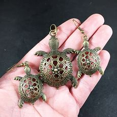 Necklace and Earrings Jewelry Set of Vintage Bronze Toned Cute Sea Turtles #a9ytkANz8mU