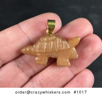 Orange Carved Stone Armored Dinosaur Pendant Necklace #DeZtd1eIymY