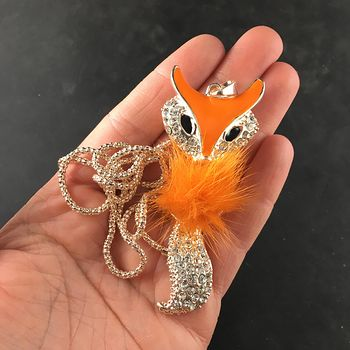 Orange Puff and Rhinestone Wiggly Fox Bling Pendant Jewelry Necklace #OUYWHiJuo9E