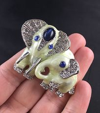 Pearlescent Rhinestone and Silver Tone Elephant and Baby Brooch Pin and Pendant #57u7QBWbiww