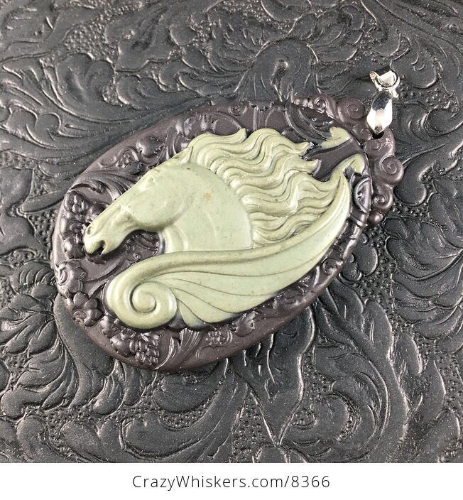 Pegasus Pendant Jewelry Carved Green and Brown Ribbon Jasper Stone - #DgmF8vNhekU-6
