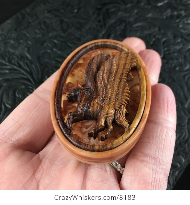 Pegasus Pendant Jewelry Carved in Rosewood - #PsqShJZXDUI-2
