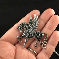 Pegasus Winged Horse and Black Rhinestone Necklace Jewelry #gpYkx0a9x0o