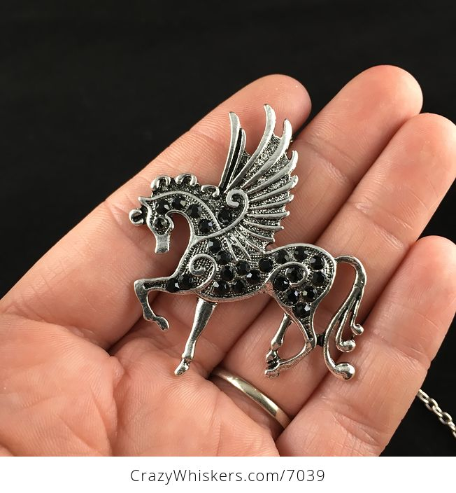 Pegasus Winged Horse and Black Rhinestone Necklace Jewelry - #gpYkx0a9x0o-1