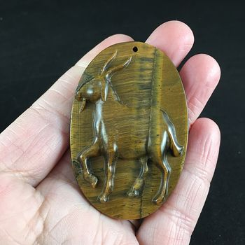 Pendant of a Goat Carved in Tigers Eye Stone #hAVJyGmS0Y0