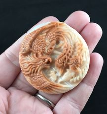 Phoenix Bird Carved Red Malachite Stone Pendant Jewelry #AhIvPEx3P1I