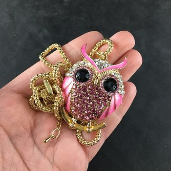 Pink Owl Jewelry Necklace Pendant #EnwMZynCjNA