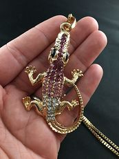 Pink Rhinestone and Gold Tone Crocodile or Alligator Pendant #Nt6rcsdCdYI