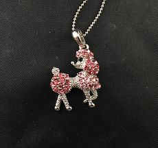Pink Rhinestone and Silver Tone Poodle Pendant Necklace #iggQRlBtDVs
