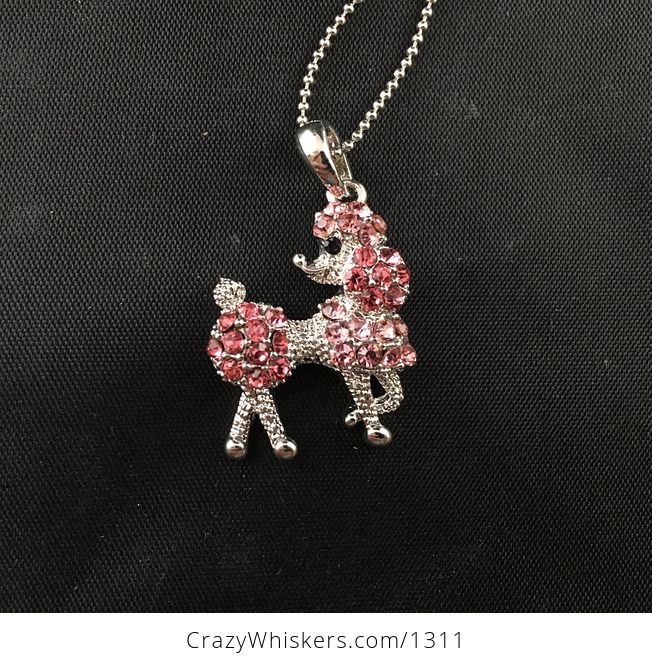 Pink Rhinestone and Silver Tone Poodle Pendant Necklace - #iggQRlBtDVs-1