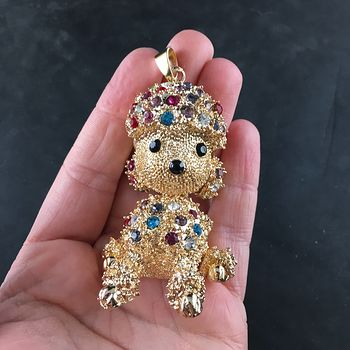 Poodle Puppy Dog Jewelry Pendant with Colorful Rhinestones on Textured Gold Tone #CJ7usNw41Ls