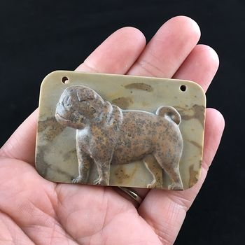 Pug Dog Carved Ribbon Jasper Stone Pendant Jewelry #Q0BPSL6ybwc