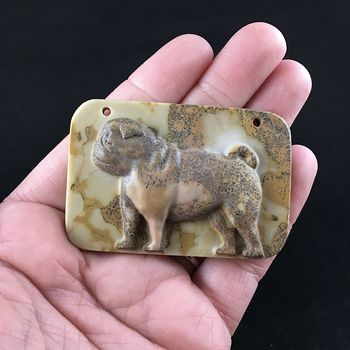 Pug Dog Carved Ribbon Jasper Stone Pendant Jewelry #bqV1EqEtLM8