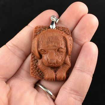 Puppy Dog Carved Red Malachite Stone Pendant Jewelry #nykBOpiiHy8