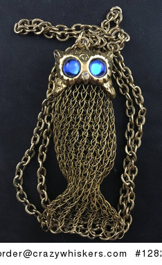 Really Unique Vintage Gold Tone Metal Mesh Formed Owl Pendant with Blue Cat Eye Stone Eyes #iJ8RsEzDG3E
