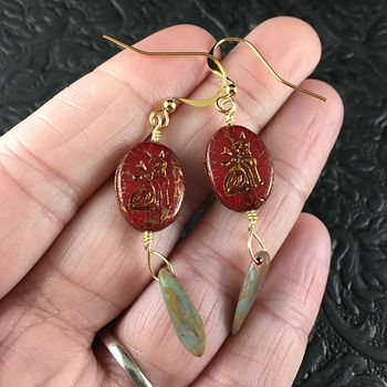 Red and Gold Glass Kitty Cat and Dagger Earrings #RHWVuBxkaLU