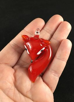 Red Fox Lampwork Glass Pendant Jewelry #UjD0HiL9t08