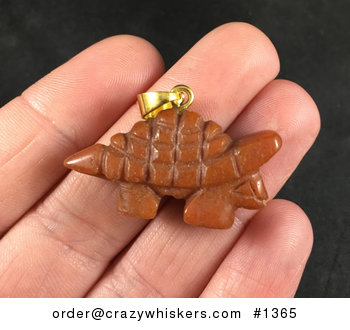 Reddish Orange Carved Stone Armored Dinosaur Pendant Necklace #5wyWtm6Fzn0