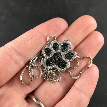 Rhinestone Black and Silver Tone Dog Paw Print Jewelry Necklace Pendant #NBbHllgnFe8