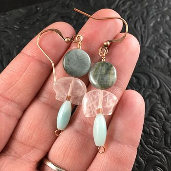 Rose Quartz Bear Amazonite and Chrysoberyl Cats Eye Earrings with Copper Wire #m3QdILtyMa0