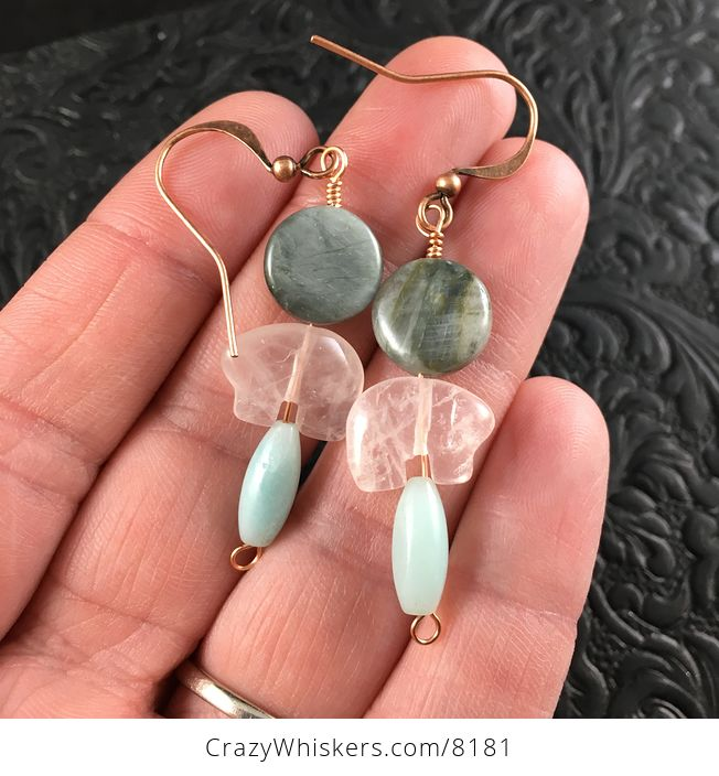 Rose Quartz Bear Amazonite and Chrysoberyl Cats Eye Earrings with Copper Wire - #m3QdILtyMa0-1