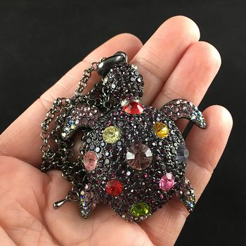 Sea Turtle Pendant in Purple Tone Adorned with Colorful Crystal Rhinestones on Gun Metal Black #vbnR2nb80Is