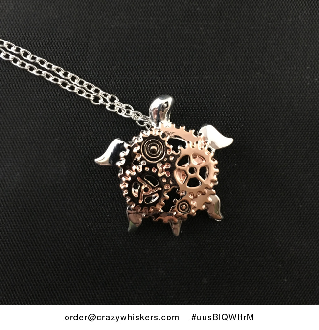 Shiny Rose Gold and Silver Tone Steampunk Turtle Pendant - #uusBlQWIfrM-2