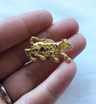Silver Tone Walking Tiger Brooch Pin #wAp6PSOxZbA