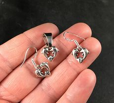 Silver Toned Loving Dolphins Forming a Heart Pendant Necklace and Earrings Jewelry Set #FS41MNUh0kI