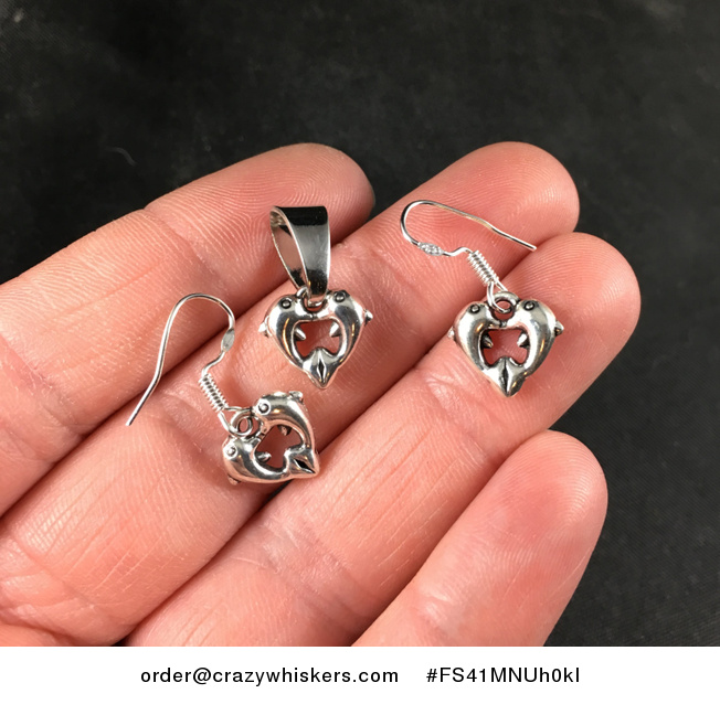 Silver Toned Loving Dolphins Forming a Heart Pendant Necklace and Earrings Jewelry Set - #FS41MNUh0kI-1