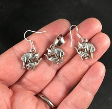 Silver Toned Mama and Baby Elephant Pendant Necklace and Earrings Jewelry Set #y7mpTH7n6V0