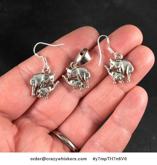 Silver Toned Mama and Baby Elephant Pendant Necklace and Earrings Jewelry Set - #y7mpTH7n6V0-1