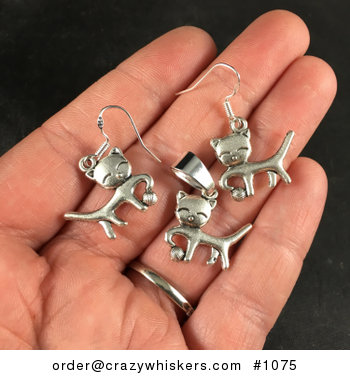 Silver Toned Playful Kitty Cat and Yarn Pendant Necklace and Earrings Jewelry Set #uEAbaUNkgAU