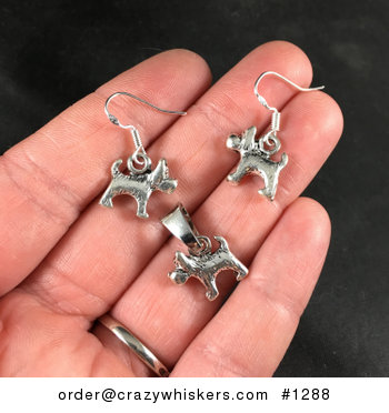 Silver Toned Scottie Scottish Terrier Dog Pendant Necklace and Earrings Jewelry Set #h5V5B1FnonI