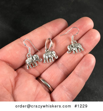 Silver Toned Walking Elephant Pendant Necklace and Earrings Jewelry Set #xfLutovuglw