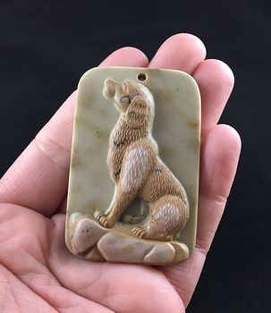 Sitting Dog Carved Ribbon Jasper Stone Pendant Jewelry #wN8XMUwU56I