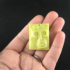 Stone Pendant Jewelry Chimpanzee Monkey Face Carved Lemon Jade #chtl7VXvZIQ