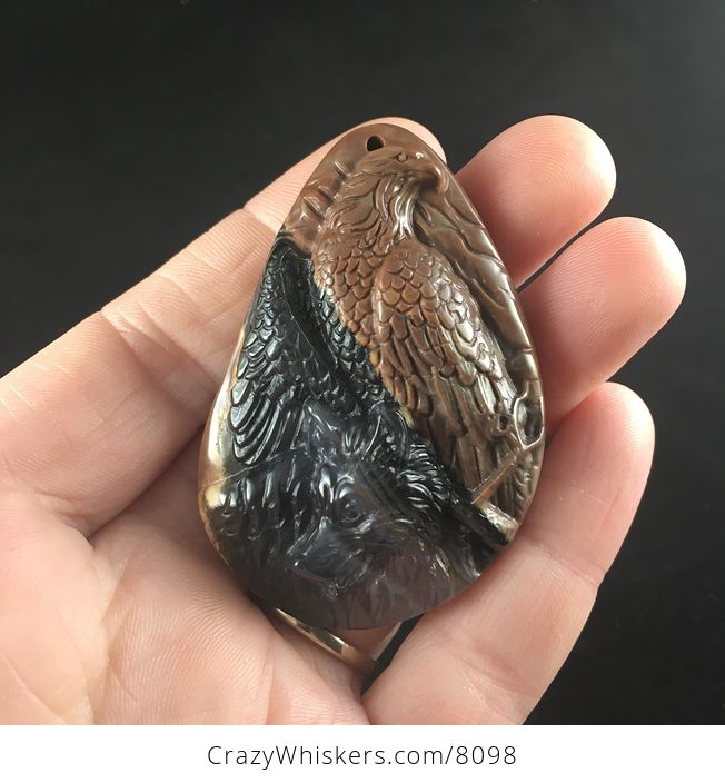 Stone Pendant Jewelry Wolf and Eagle Spirit Animals Carved Black and Brown Mexican Agate - #h9o9AwFFpL0-1